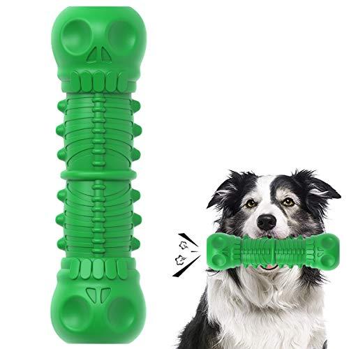HETIAL Kauspielzeug für Hunde mit Totenkopf-Motiv, für aggressive Kauer, Quietschspielzeug mit Milchgeschmack, unverwüstlich, robust, langlebig, für Hunde (Schädelform, grün)