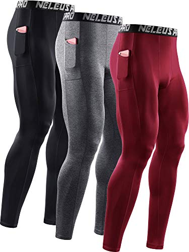 Neleus Mens Dry Fit Compression Baselayer Pants Running Tights Leggings