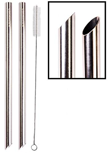 2 POINT END BOBA Straw Stainless Steel Extra Wide 1/2' x 9.5' Long Tapioca Pearl Bubble Tea Thick FAT - CocoStraw Brand (2 Point End Boba)