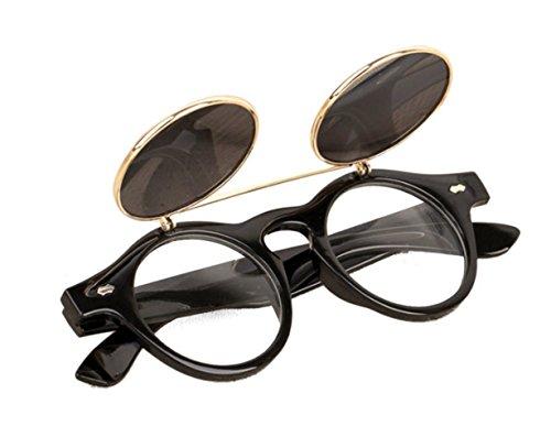 Bluestercool Lunettes de Soleil Steampunk Goth Goggles Retro Flip Up Lunettes de Soleil Rondes Vintage (B)