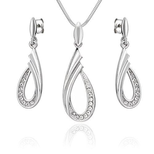 LillyMarie Damen Schmuck set Echt Silber Tropfen-Anhänger Swarovski Elements Längen-verstellbar Schmucketui Schöne Geschenke für Frauen