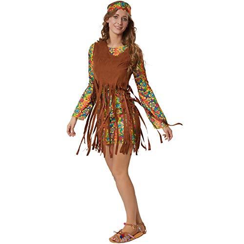 dressforfun 900524- Disfraz de Mujer Hippie Squaw Rebelde, Vestido Corto con Estampados Coloridos (L | No. 302625)