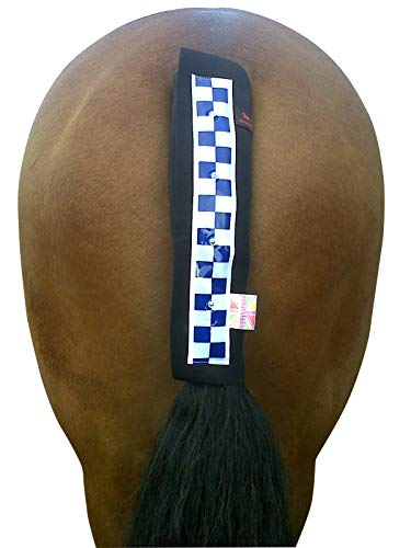 Equisafety - Copricoda Lampeggiante da Equitazione, Multicolore (Nero con Nastro Riflettente Blu/Bianco), Taglia Unica
