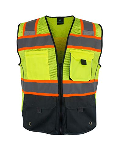 Kolossus Deluxe High Visibility Safety Vest with Multi Frontal Pockets | ANSI Class 2 Compliant (XXX-Large) Black/Yellow
