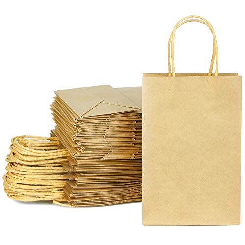 100 Christmas Kraft Paper Bags, Brown Gift Bags with Handles Bulk for Christmas Gift Bags, DIY Party Bags, Christmas Party Favors, Gift Giving 5.25 * 3.75 * 8'