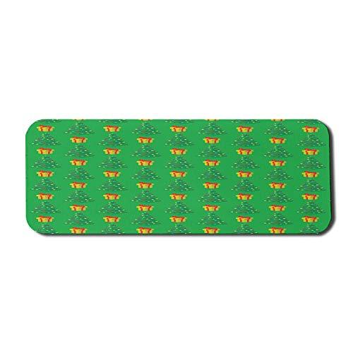 Green Xmas Computer Mouse Pad, Pixel Art Weihnachtsbaum und Geschenke Geschenke Gamer Bunte Zusammensetzung, Rechteck rutschfeste Gummi Mousepad groß grün und mehrfarbig