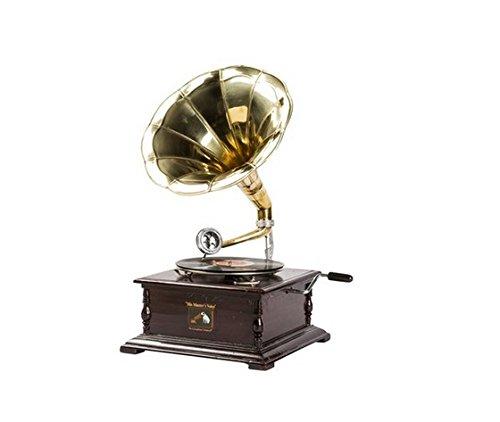 Grammofono quadrato in legno, tromba in ottone, vintage - dischi vinile
