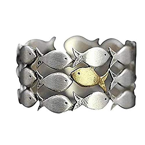 HJBH Personalisierte Ring Für Frauen Schwimmring Upstream Ist Verstellbar, Versprechen Verlobungsjubiläumsring Set Schmuck Geschenk Für Frauen, Entworfen Für Menschen