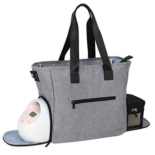 Teamoy Breast Pump Bag, Pumping Bag Tote with Pocket for Breast Pump, Cooler Bag, Laptop(Up to 14'') and More, Perfect for Working Moms, Gray (Bag Only)