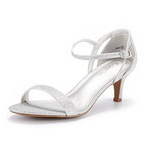 DREAM PAIRS Women's Lexii Silver Glitter Fashion Stilettos Open Toe Pump Heel Sandals Size 9 B(M) US