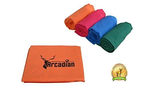 Toalla de microfibras grande para perro por Arcadian en azul, verde, naranja,...