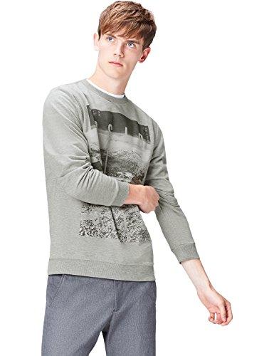 Amazon-Marke: find. Sweatshirt Herren aus Baumwoll-Jersey mit großem Print, Grau (Grey Marl 002), L, Label: L