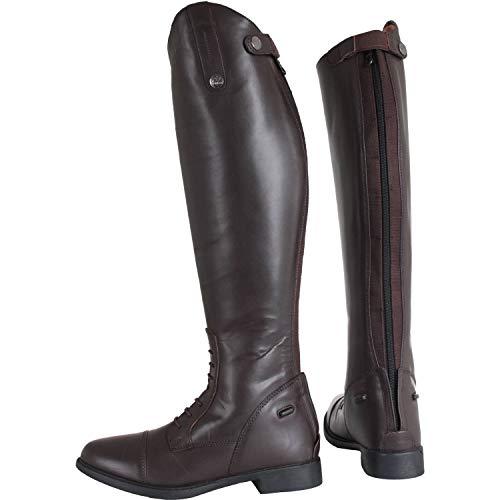 Horka Junior Isa - Botas de competición con cremallera larga y suela de goma para montar a caballo, color marrón