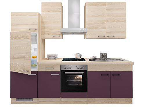 Smart Möbel Küchenzeile 270 cm Aubergine/Akazie mit Herd/Glaskeramik-Kochfeld, Kühlschrank und Spüle - Otto