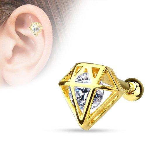Helix piercing diamant met steen 14kt. gold plated