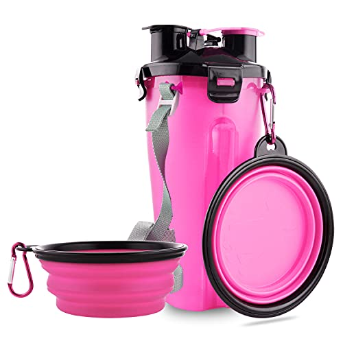 Guardians Dog Travel Water Bottle Collapsible Bowls, 2 in 1 Pet Food Container with Collapse Bowls,...