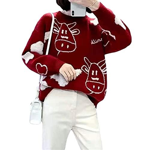 Kawaii - Suéter de punto para mujer, casual, perezoso, estampado de vaca, manga larga, gran tamaño, suéter Harajuku suéteres Streetwear, rojo vino, S