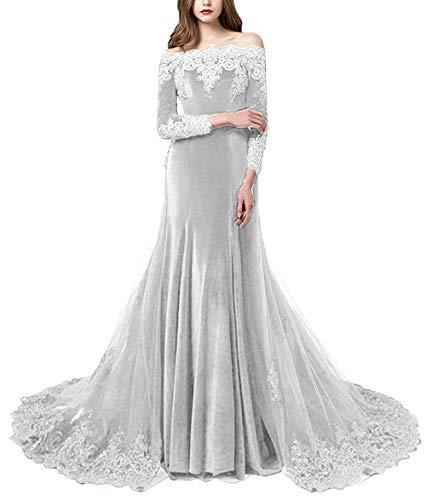 Formal Lady Women's Vintage Off The Shoulder Lace Applique Beaded Long Sleeves Velvet Evening Gown Wedding Dress FL028 Silver