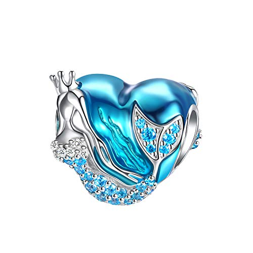 Mermaid Charms fit Charms Bracelet, 925 Sterling Silver Charms Bead CZ Heart Shape Blue Enamel Bead Ocean Sea Charm for European Snake Bracelets Bangles Necklace Women Christmas Gift With Box