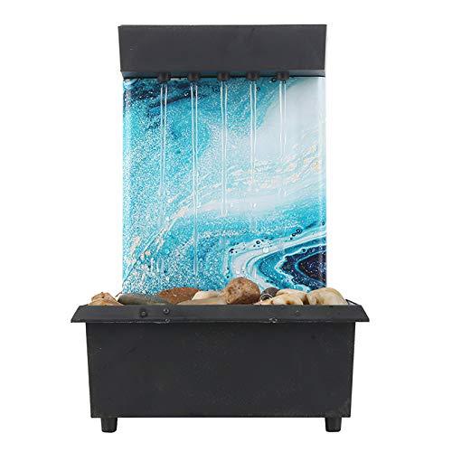 Wowlela Fuente de agua de mesa para interior de rocalla y fuente de agua que fluye en cascada Decoración de oficina del hogar (estilo D)