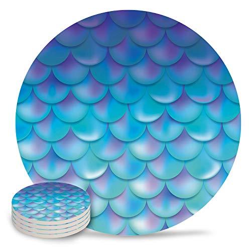 Posavasos de cerámica para bebidas, diseño de delfín océano con piedra absorbente y parte trasera de corcho para tipos de tazas y tazas, posavasos de mesa redonda azul blanco (juego de 4/6/8), cerámica, Escamas de pescado9461, 8-Piece Set