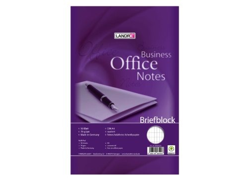 LANDRE 100050265 Briefblock Office 10er Pack A4 50 Blatt rautiert 70 g/m² Schreibblock Briefblöcke Briefpapier