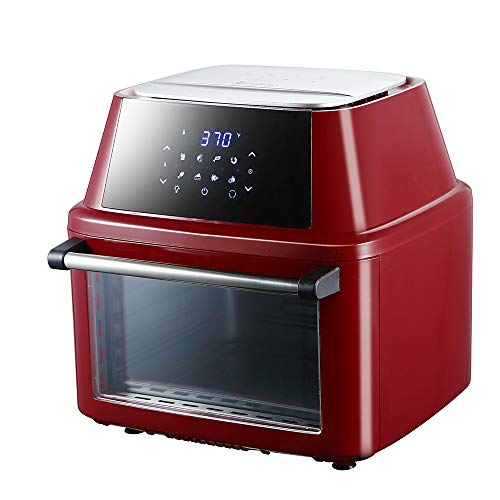 16L Power Air Fryer Cooker - Chip Fryer, Portable Oven, Oil Free Hot Air Health Fryer, Rotating Rotisserie and Dehydrator (120V 16.91Quarts 1800W) (1.6L Red)