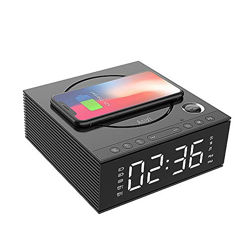 Wireless Charging Alarm Clock Bluetooth Speaker with Remote Control,FM Radio,USB Port,TF-Card,AUX-in,Snooze,LED Display,Hands-Free Calls and DIY Ringtone for Bedroom(Color:Black)