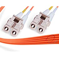 FiberCablesDirect - 100M OM2 LC LC Fiber Patch Cable | Indoor/Outdoor 1G Duplex 50/125 LC to LC Multimode Jumper 100 Meter (328ft) | Length Options: 0.5M-300M | 1/10g lcupc sfp 1gbase ofnr om2-lc-lc