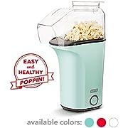 DASH DAPP150V2AQ04 Hot Air Popcorn Popper Maker with Measuring Cup to Portion Popping Corn Kernels + Melt Butter Makes 16C Aqua