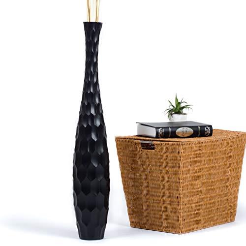 Leewadee Grote Vloervaas - Handgemaakte Bloemenhouder Gemaakt Van Hout, Verfijnde Vat Voor Decoratieve Takken en Gedroogde Bloemen, 90 cm, zwart