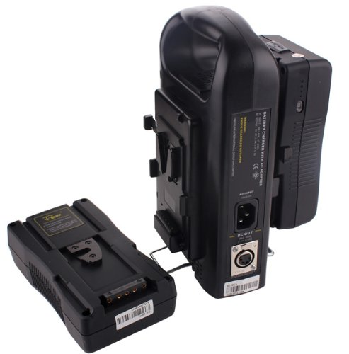 2PCS RL-130S 130Wh 14.4V Sony V-Mount Rechargeable Li-ion Battery + Dual Charger