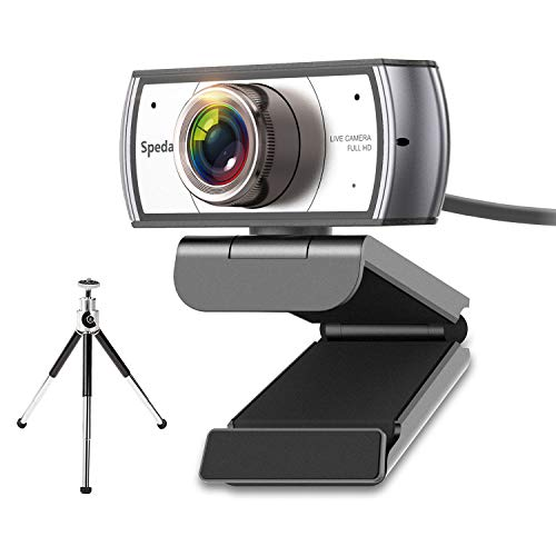 Spedal Webcam mit Stativ, 120 Grad Weitwinkel-Webcam, Live-Streaming Webcam 1080P/30fps, Computer Laptop Kamera für Xbox OBS XSplit Skype Facebook, kompatibel für Mac OS Windows 10/8/7