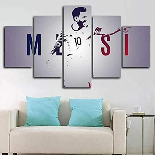 Yoplll Cuadros Modernos Impresión De Imagen Artística Digitalizada, Lienzo Decorativo Para Tu Salón O Dormitorio 5 Piezas (150X80Cm) Rio Messi Football Life