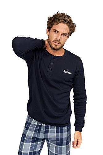 BABELO HOMEWEAR – Pijamas de Hombre de Invierno – Pijama de algodón 100% - Conjunto de Pijama de Hombre de Invierno – Pijama con pantalón de Cuadros Color Azul (L)