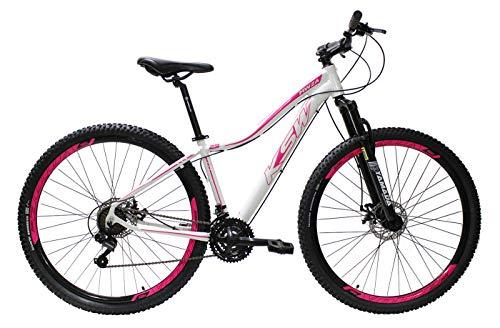 Bicicleta Ksw Aro 29 Feminina Alumínio Freio A Disco 21v (Branco/Rosa, 15.5)