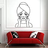 Tianpengyuanshuai Etiqueta de la Pared SPA Skin Massage Woman Face Vinyl Wall Sticker Beauty Salon Girl Decoration 42X54cm