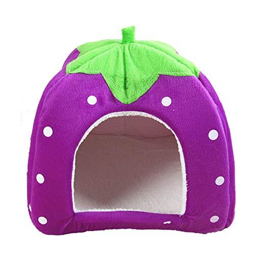 ASR Pet Yurt Strawberry Nest Tent Pet Bed Non-Slip Pet Bed for Cat, Dog, Rabbit, Hamster Sleeping Bed Cat Sofa (L(36 x 36 x 38 cm), D)