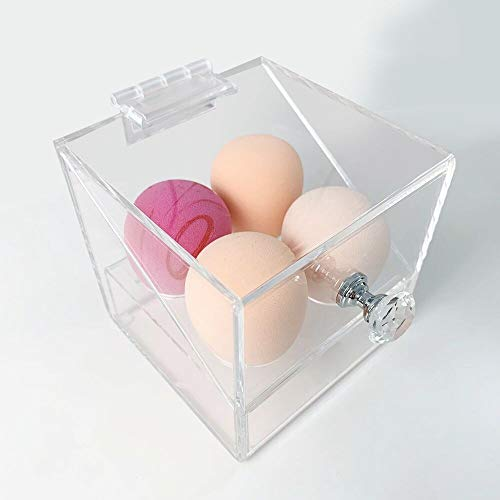 Acrylic Beauty Blender Sponge Holder With Dustproof Lid Clear 4 Hole Solution Makeup Sponges Display Stand For Bathroom (Clear-4holes)