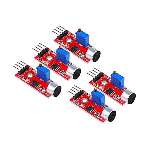 5 Piezas Módulo de detección de Voz con Sensor de Sonido de micrófono con Salida Digital y analógica para proyectos de Bricolaje Arduino