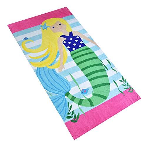 Baogaier Toalla de Playa - Toalla de Baño Personalizada Sirena Rosado - 80 x 160 cm Algdón Grande Toalla de Deportes Manta de Playa para Infantil Niños Adultos Natacion Surf Regalo Vacaciones e Viajar