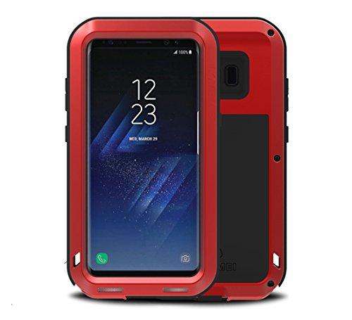 Samsung S8 Funda, Love Mei Heavy Duty Metal Aluminio Carcasa Extreme Alta Resistencia Protector Shockproof a Prueba de choques Cover para Samsung Galaxy S8 (Rojo)
