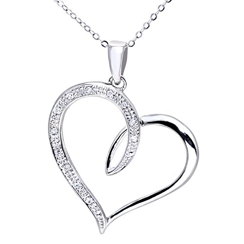 Naava Women's 9 ct White Gold Diamond Heart Pendant with 46 cm Trace Chain Necklace