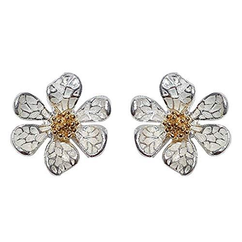 Pendientes de girasol para mujer en plata de ley 925, pendientes de botón de flor de margarita, joyería aretes de moda para mujeres y niñas
