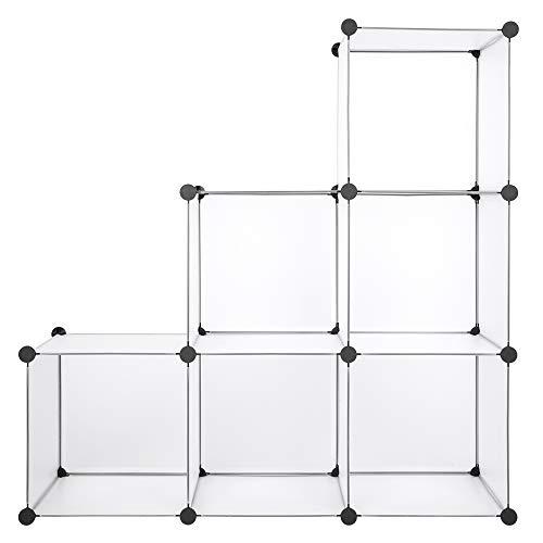 Cube Storage Organizer, 6-Cube Closet Shelf, White Bookshelf, DIY Closet Shelves for Home, Bedroom, Living Room, Office (6 Cube)