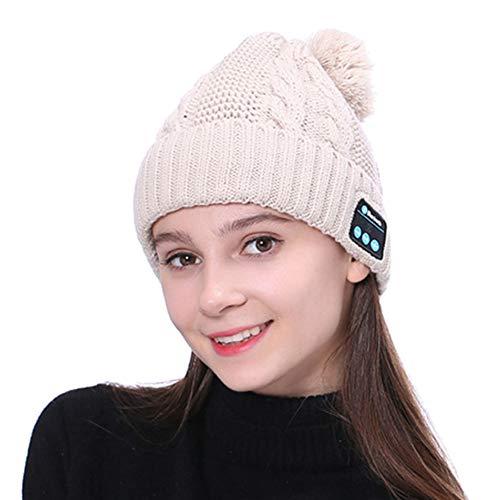 diirm Warme Beanie-Mütze, kabellos, Bluetooth, Smart Cap, Headset, Kopfhörer und Lautsprecher mit Mikrofon Gr. S, khaki
