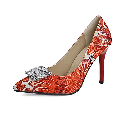 Gladwill Zapatos de tacón alto para mujer, con punta puntiaguda, con diamantes de imitación, con tacones altos, con impresión de moda, para fiestas, tamaño
