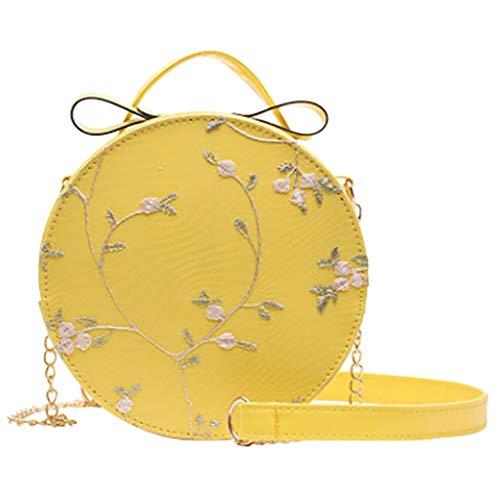 TAMALLU Bag Frauen elegante Einfache Umhängetasche Abend Spitze Frische Messenger Runde Tasche(Gelb)