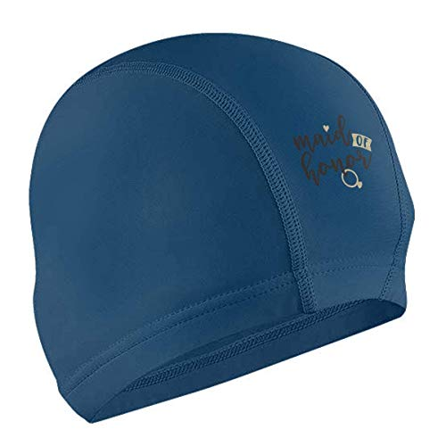 OPLKJ Bonnet de Bain Maid of Honor Adult Waterproof No-Slip Short and Length Hair Swimming Cap for Woman and Men Blue