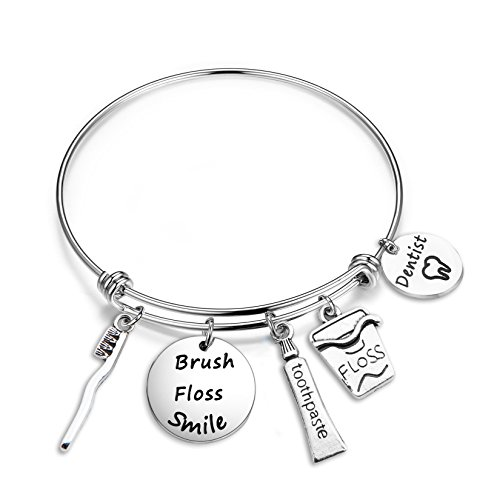 SEIRAA Dentist Gifts Stainless Steel Expandable Wire Bangle Charm Bracelets Graduation Dental Hygienist Jewelry for Women (Dentist bracelet)
